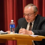 Gillett School Board treasurer Cliff Gerbers reports on the 2020-21 school district budget during the district's annual meeting Oct. 14 in the Gillett Secondary School auditorium. Warren Bluhm | NEW Media Inc.