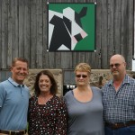 Dean and Cheryl Konkel, right, are shown with Todd and Wendy Senzig, sponsors of Shawano County's 372nd barn quilt at W13004 State Highway 29 in Tilleda.  (Jim Leuenberger)