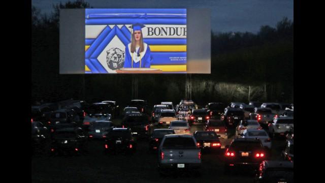 Bonduel High School valedictorian Alexia Folkman addresses her classmates via video at Bonduel's commencement ceremony — with its format affected by COVID-19.   Carol Ryczek | NEW Media
