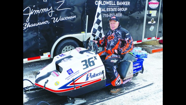 Jim Zierden drives a 1976 Polaris snowmobile, which helped him win two classes at the 20th Vintage World Championship Snowmobile Races at the World Championship Derby Complex in Eagle River.  Greg Mellis   NEW Media