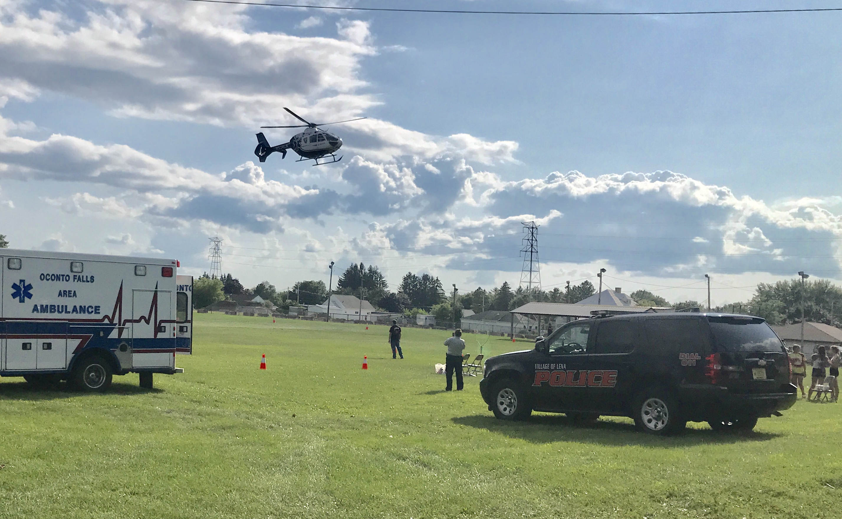 The Eagle III rescue helicopter circles for a landing at the National Night Out event at St. Anne's Parish grounds in Lena on Aug. 6, 2019.