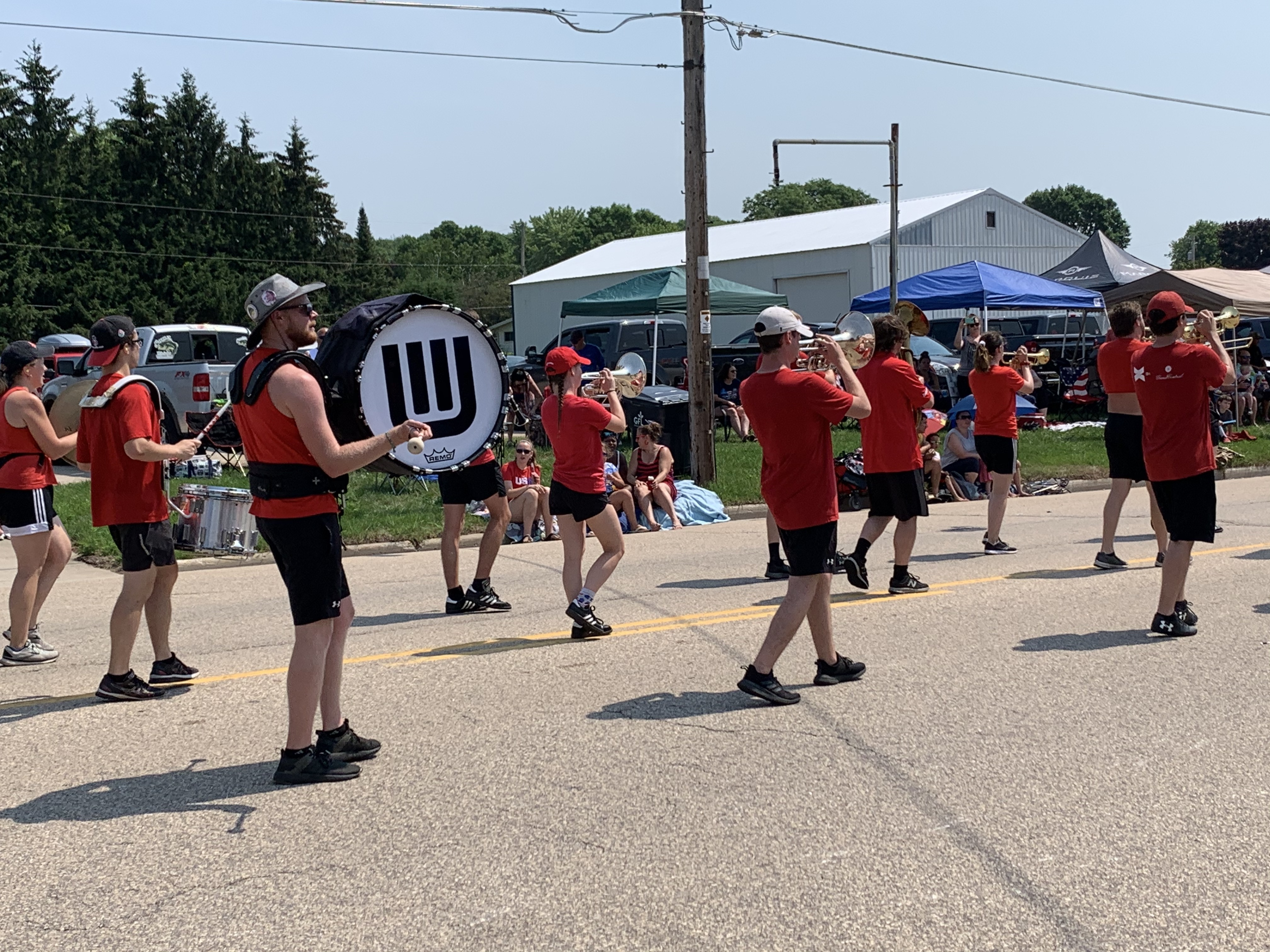Members of the University of Wisconsin marching band provide music, while taking part in the Fourth of July parade in Bonduel on July 4.Luke Reimer   NEW Media