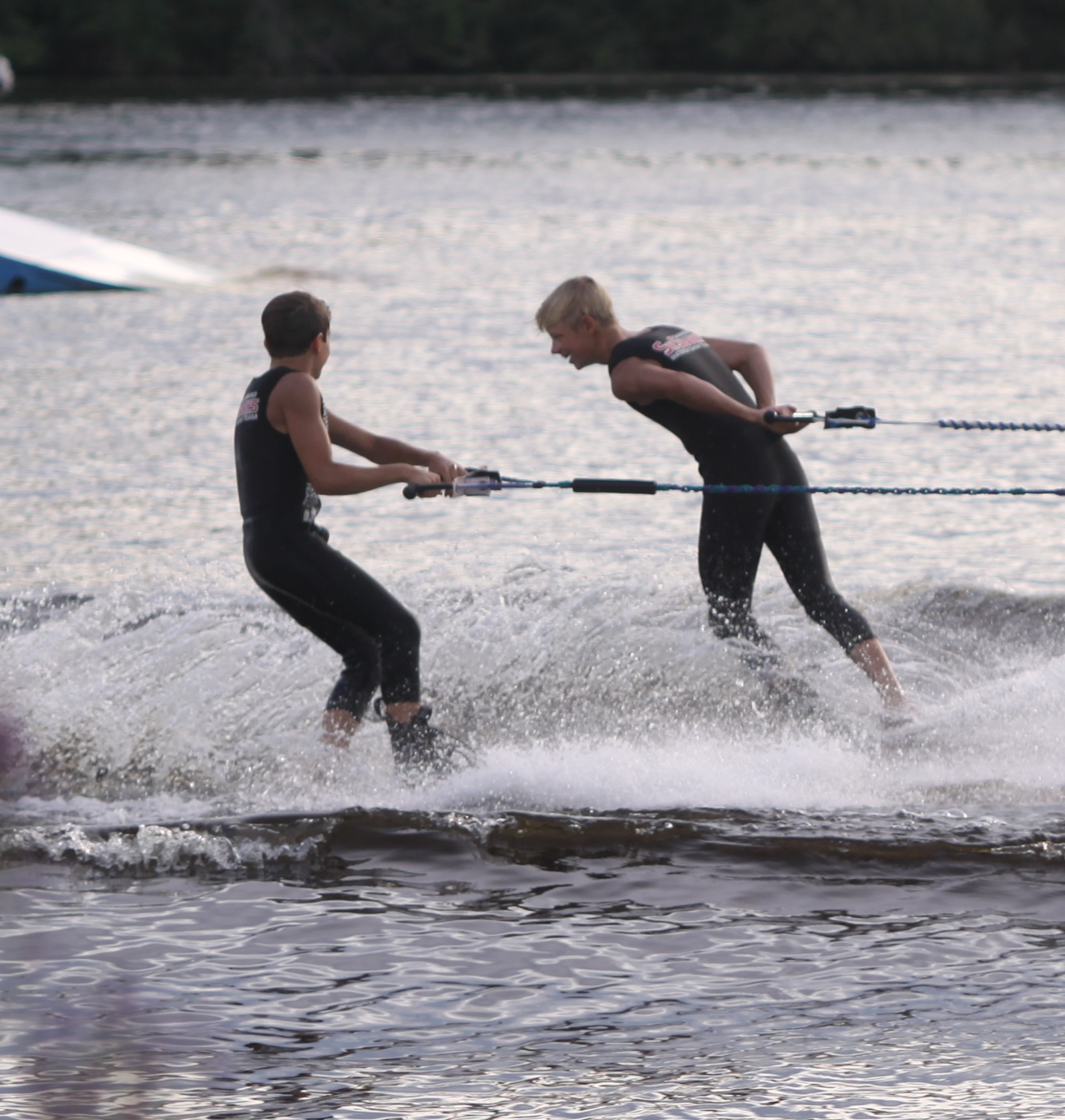 Jack and Ryan Strachan perform during the Shawano Ski Sharks final show of the summer on Wednesday. The start of the Ski Sharks season was delayed until July 1 because of the coronavirus pandemic.Morgan Rode | NEW Media