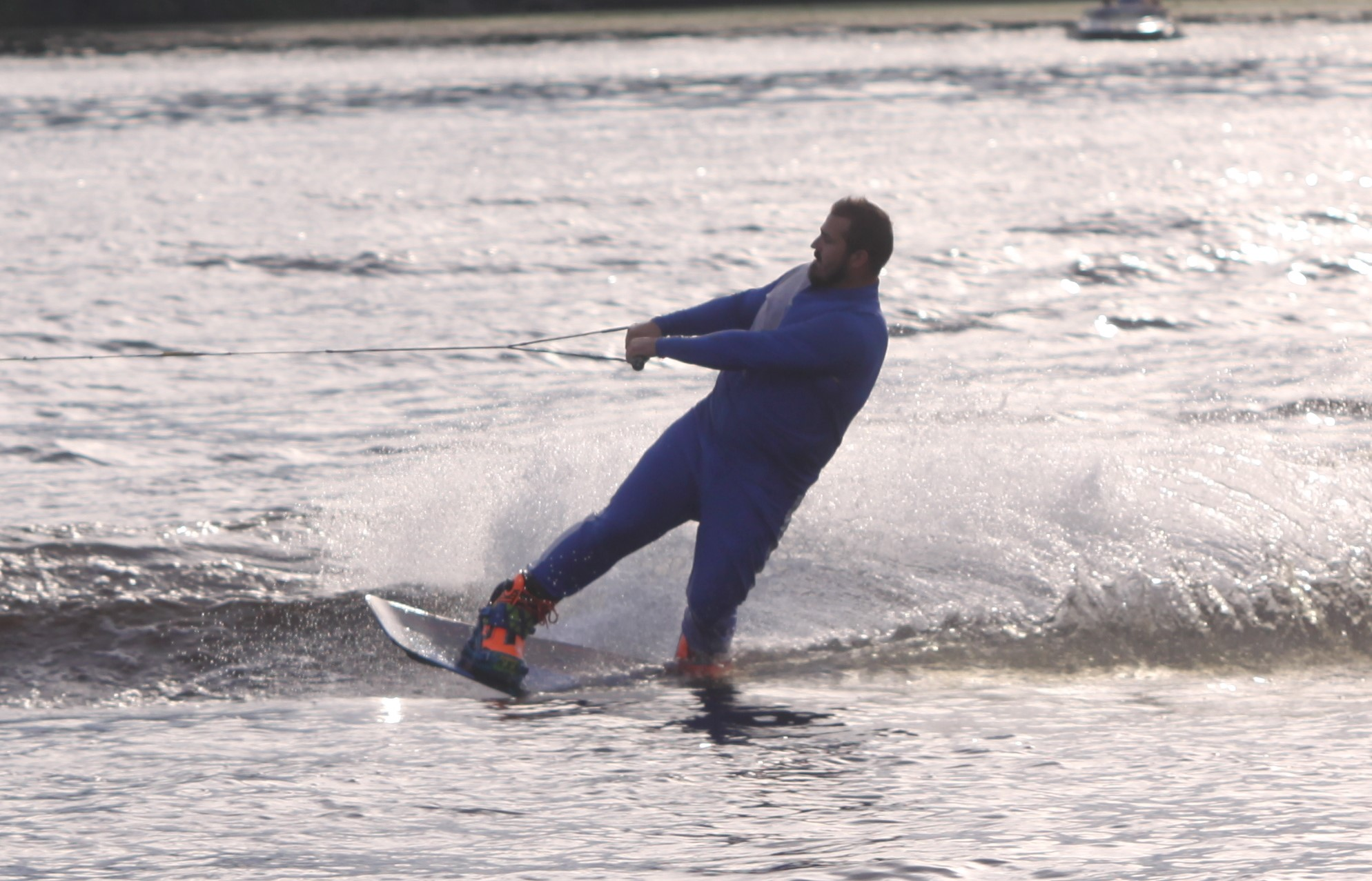 Joe Nagrant performs a solo act during the Shawano Ski Sharks final show of the summer on Wednesday. Nagrant typically performs for a water ski team in Wausau, but joined the Ski Sharks because they were one of the few teams in the state that held shows this summer.Morgan Rode | NEW Media
