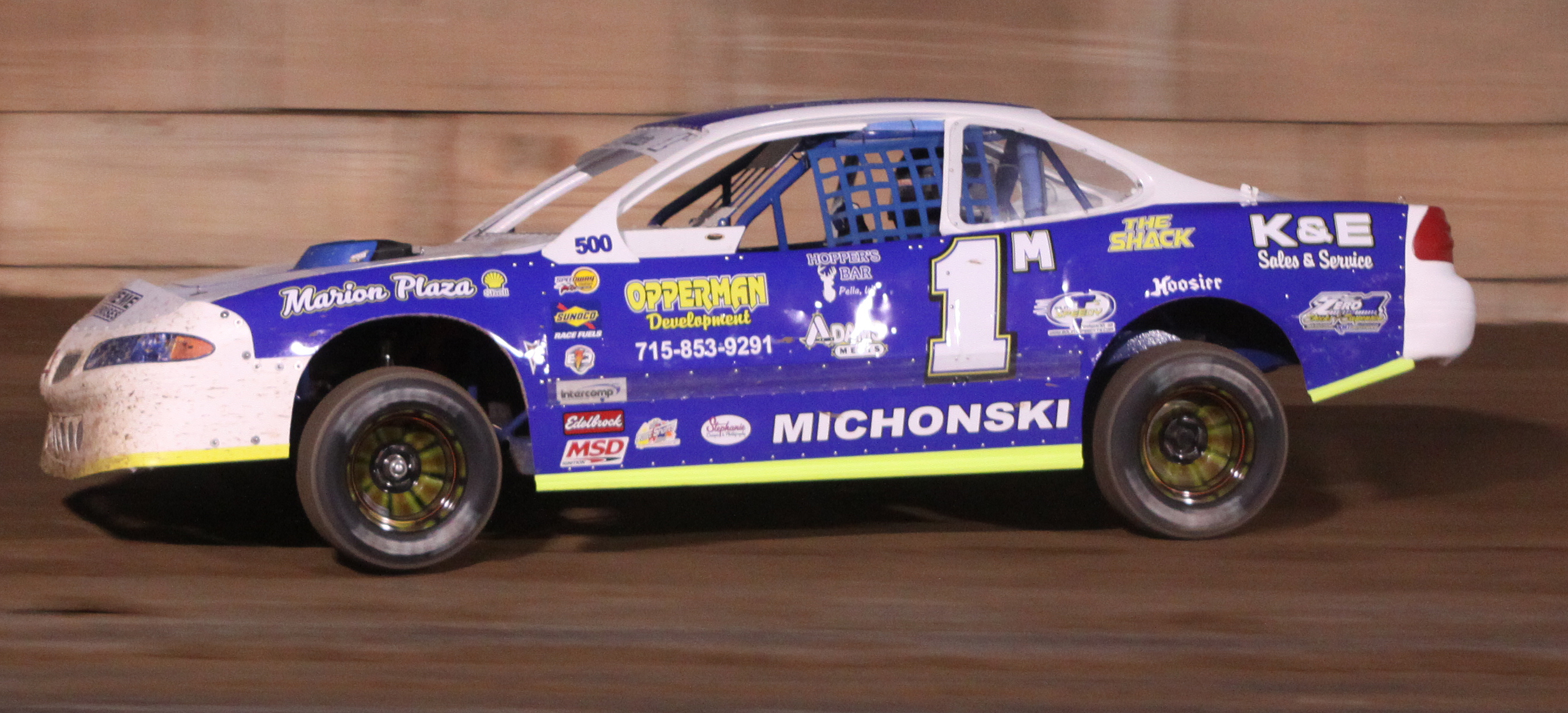Dan Michonski used a late pass to claim a win in the IMCA Stock Car feature during the Shawano Speedway&#039;s season opener on Saturday.<br />Morgan Rode | NEW Media