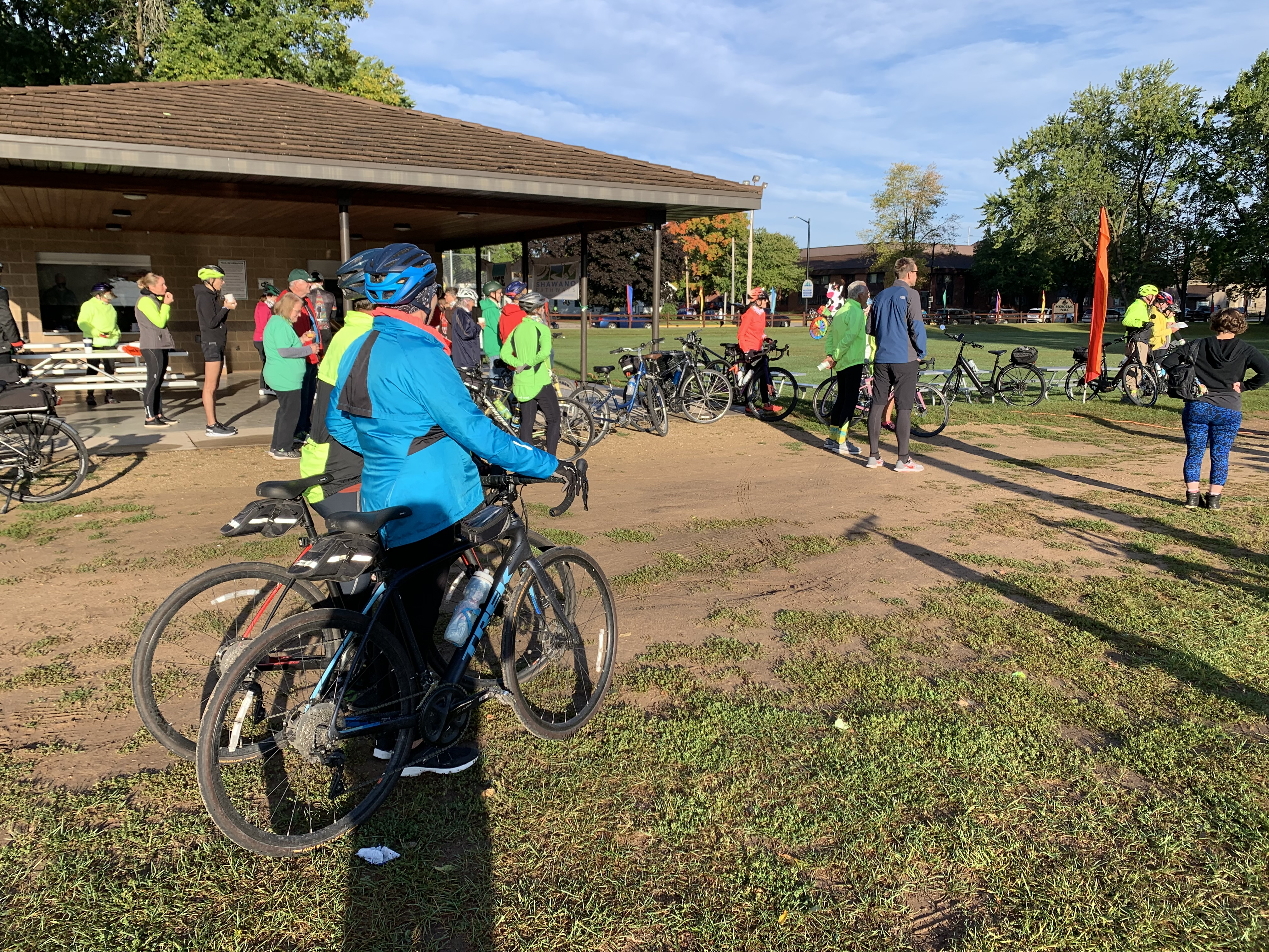 Participants prepare to begin their bike rides through Shawano County at the Bike the Barn Quilts event, held Sept. 25 at Memorial Park. Funds were raised to support Shawano Pathways.Luke Reimer   NEW Media
