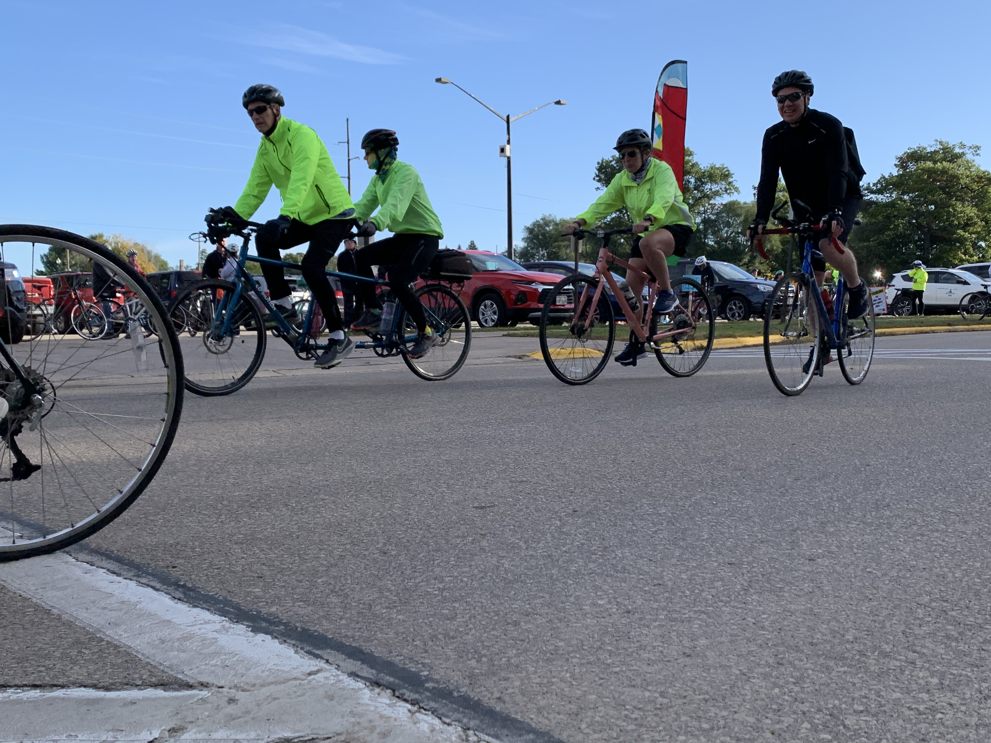 Bikers begin their trips through Shawano County at the Bike the Barn Quilts event at Memorial Park on Sept. 25. The non-competitive rides ranged from 17 to 70 miles.Luke Reimer   NEW Media