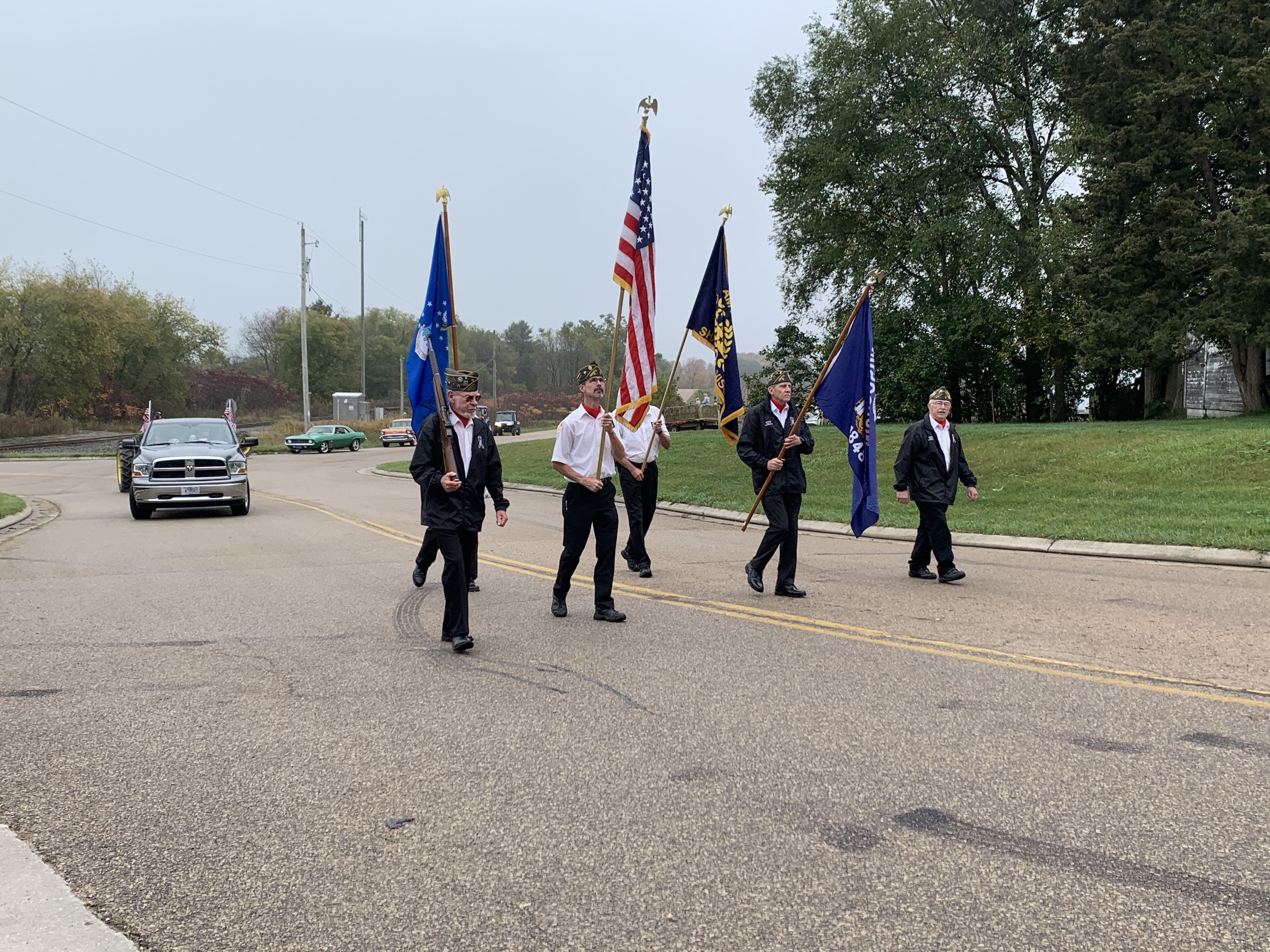 Members of the American Legion Post lead the parade down County Road T in Lunds during Bohemian Fest at Lunds Corner Bar on Oct. 9.Luke Reimer | NEW Media