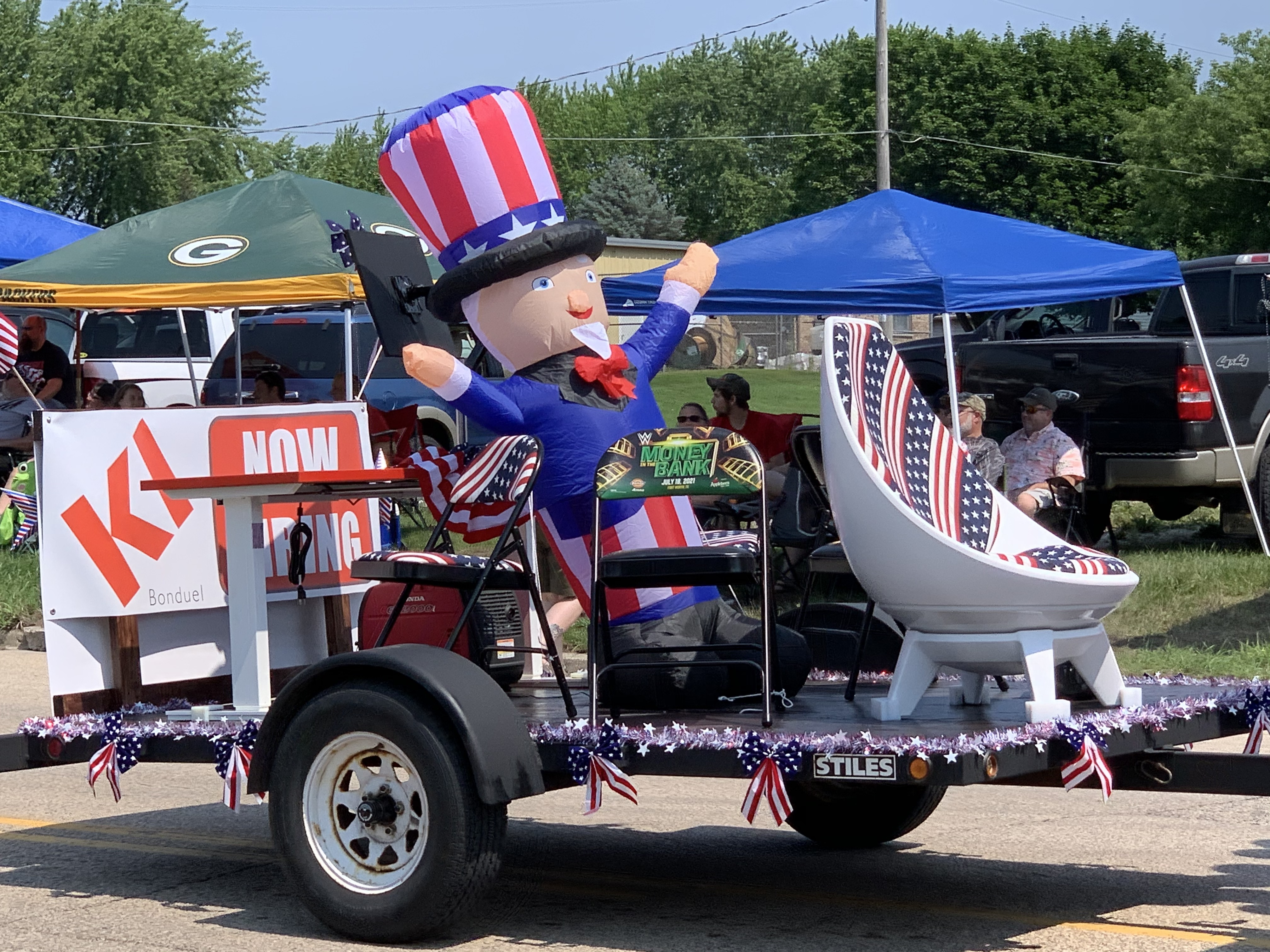 An inflatable Uncle Sam was one of the spectacles of the parade in Bonduel as it passed down Green Bay Street on July 4.Luke Reimer   NEW Media