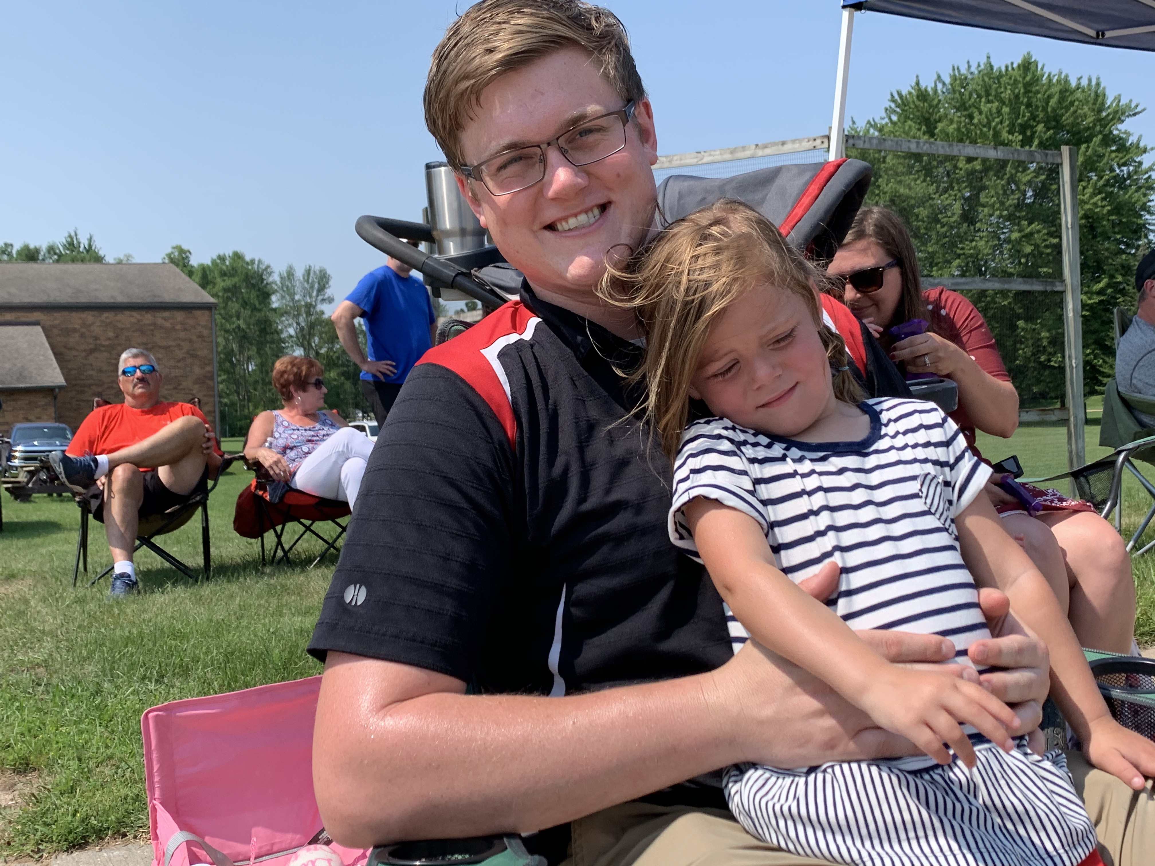Sam and Clara Tauchen, of Krakow, wait in anticipation for the Fourth of July parade in Bonduel on July 4.Luke Reimer   NEW Media