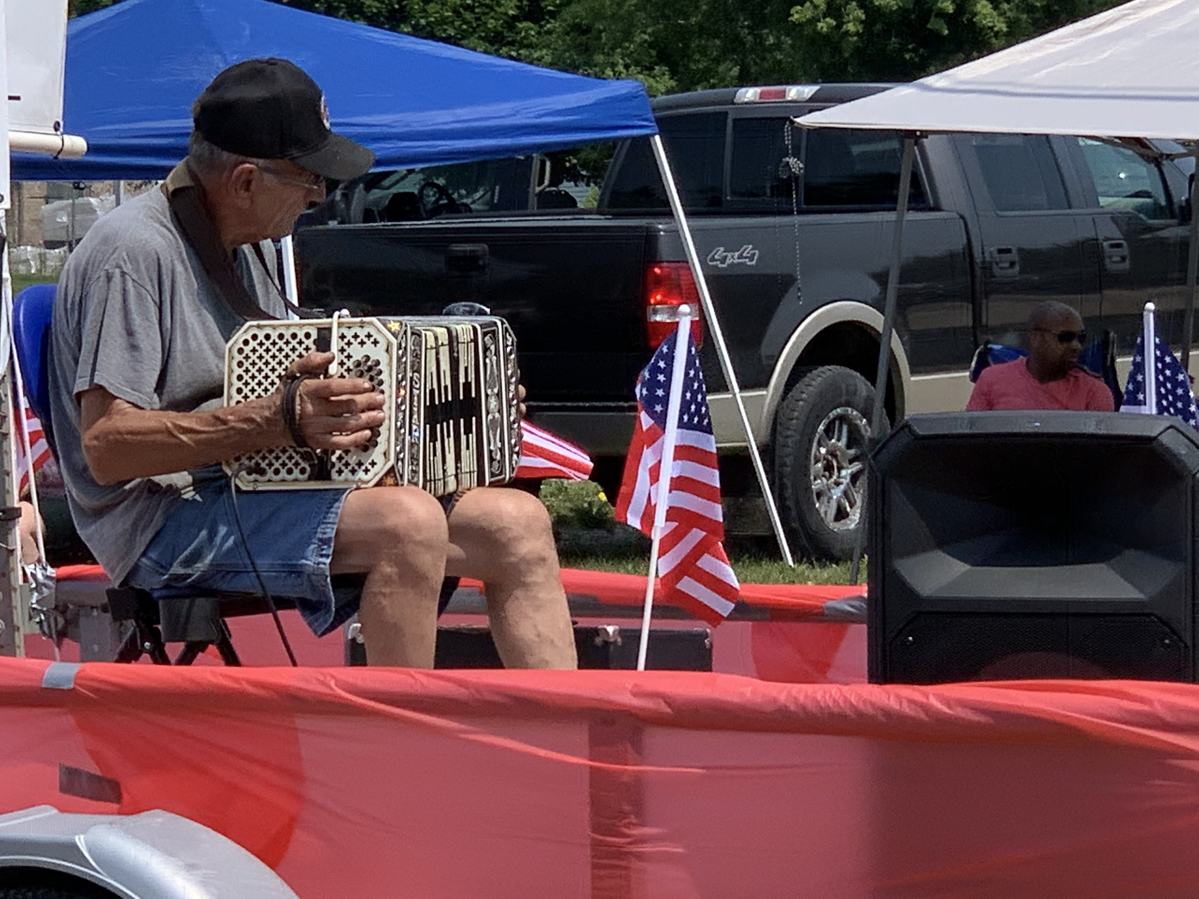 One float was dedicated to polka music so visitors could listen to the music as it passed by on July 4 in Bonduel.Luke Reimer   NEW Media