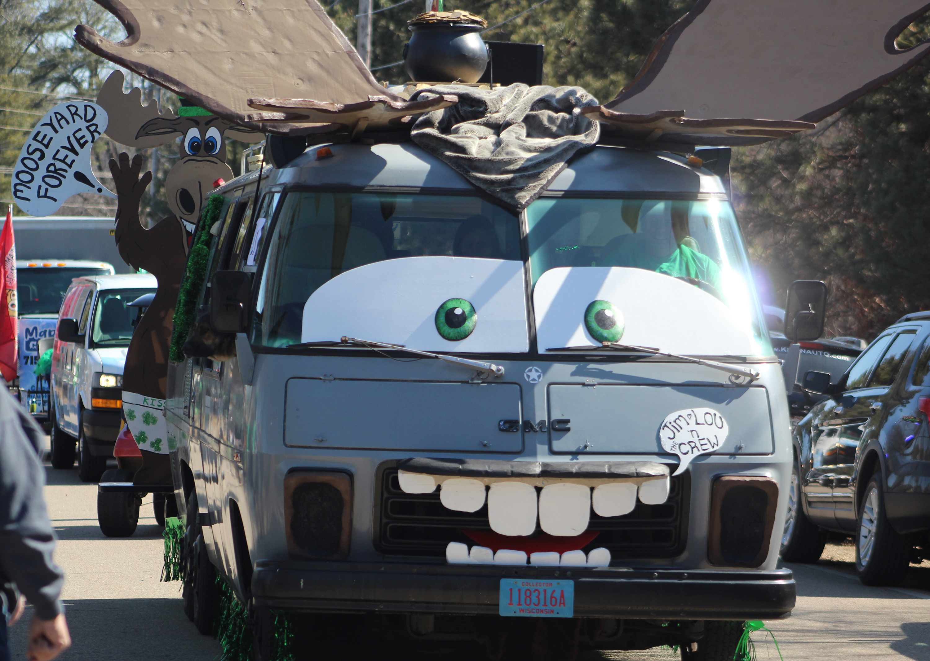 The Mooseyard is a beloved segment of the Town of Wescott. Some parade entries — like this vehicle from Classic's Restaurant and Lounge — minimized the green and focused on the moose part of the event.(Lee Pulaski | NEW Media)