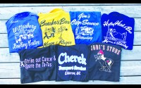 A few of the more humorous bowling shirts from a few of the many teams Dave Konkel has bowled for over the past 50 years. Contributed