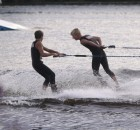 Jack and Ryan Strachan perform during the Shawano Ski Sharks final show of the summer on Wednesday. The start of the Ski Sharks season was delayed until July 1 because of the coronavirus pandemic.