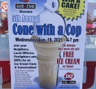 The fifth annual Cone with a Cop was held Wednesday in the parking lot Shawano Dairy Queen Grill and Chill. Local Officers, EMTs and Firefighters included Shawano Police Department, Shawano County Sheriff, Wisconsin State Patrol, Menominee Tribal Police, Shawano Area Fire Department, Shawano Ambulance Service and Wisconsin Department of Natural Resources.  Greg Mellis | NEW Media