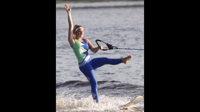 Faith Passehl performs in the swivel during the Ski Sharks' first show on July 1 in Shawano. Passehl will represent the Ski Sharks at the Wisconsin State Water Ski Show Championships on July 16.