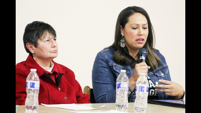 Marisa Cummings, right, talks about matriarchy requiring relearning how to be a woman during a panel discussion on missing and murdered indigenous women Thursday at the College of Menominee Nation as Mary Webster listens.