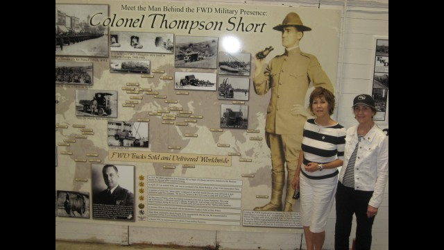 Two of Thompson Short's daughters visit the new FWD Seagrave Museum in August and view the display created in honor of their father, who passed away in 1949. Shown with it are Sara Bertrand, left, and Sandra Core.  (Grace Kirchner)