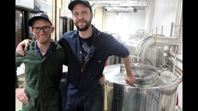 Aaron Gilling, left, and Grant Newton take a break from brewing their specialty beer on Monday at the Stubborn Brothers Brewery in downtown Shawano. Even though the brewery has been open about a month, it was named by Travel Wisconsin as one of the top 20 finalists for the Wisconsin Brewdown.