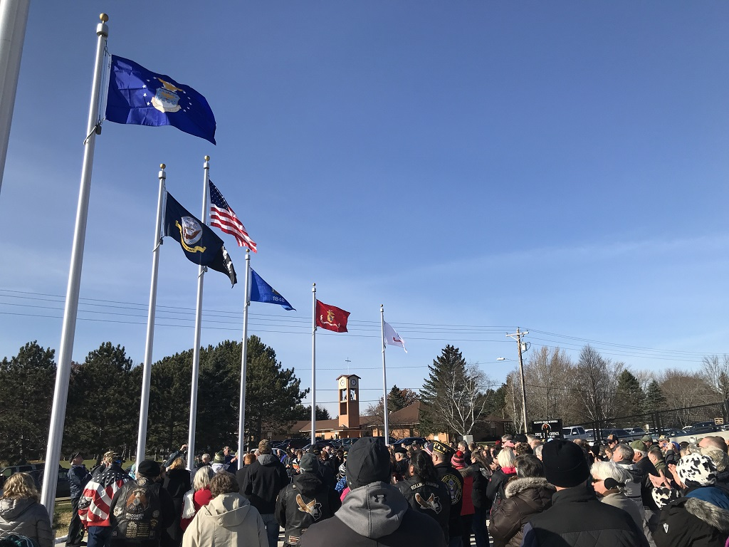 The plaza of the new Oconto Falls Area Veterans Monument was filled to overflowing after the Nov. 9 dedication ceremony. (Warren Bluhm   NEW Media)