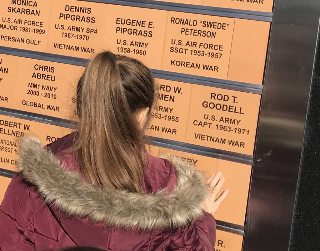 """Construction of the monument is being funded through the sale of """"bricks,"""" actually bronze plaques with the names of honored veterans or donors along its walls. (Warren Bluhm   NEW Media)"""