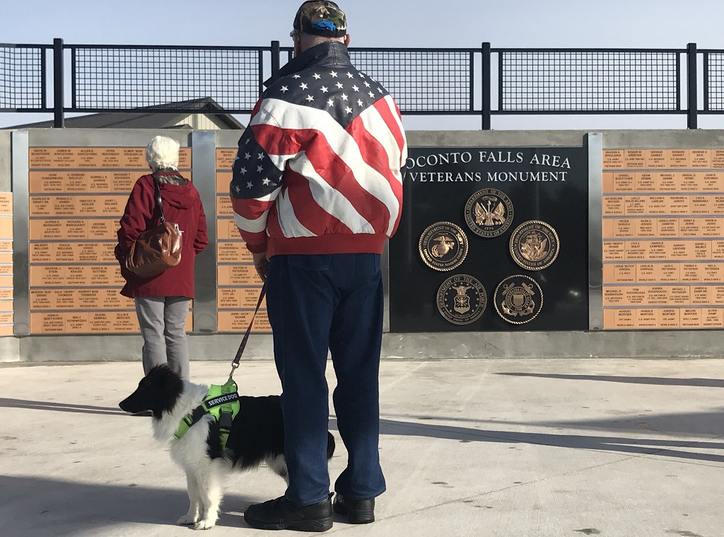 A veteran and his faithful companion check out the veterans monument prior to the dedication ceremony, which was held up the street at Oconto Falls High School. (Warren Bluhm   NEW Media)